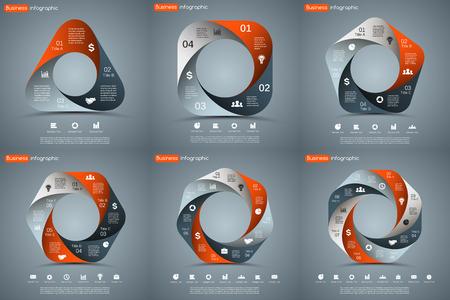 par: Vector círculo infográfico. Molde para o diagrama de ciclo, gráfico, apresentação e gráfico rodada. Conceito do negócio com 3, 4, 5, 6, 7, 8 opções, peças, etapas ou processos. Resumo de fundo.