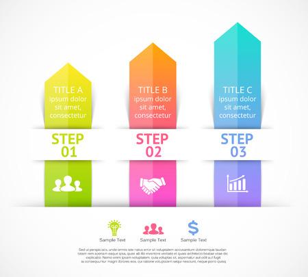 elementos: Flechas infográficas Vector. Plantilla de diagrama, gráfico, presentación y gráfico. Concepto de negocio con 3 opciones, partes, etapas o procesos. Resumen de antecedentes. Vectores
