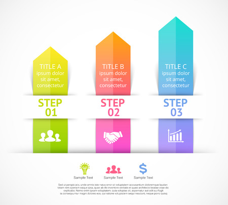 the element: Vector arrows infographic. Template for diagram, graph, presentation and chart. Business concept with 3 options, parts, steps or processes. Abstract background. Illustration