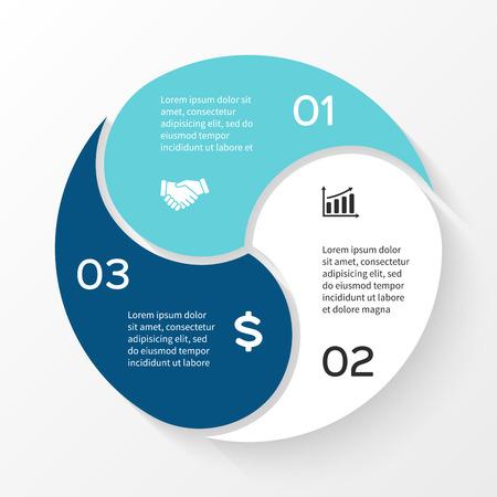 Infográfico de círculo de vetor. Modelo de diagrama de ciclo, gráfico, apresentação e gráfico redondo. Conceito de negócio com 3 opções iguais, partes, etapas ou processos. Abstrato. Ilustración de vector