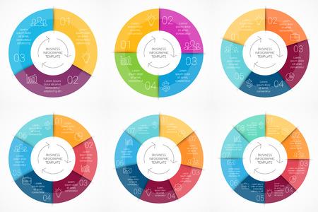 벡터 원 인포 그래픽. 사이클 다이어그램, 그래프, 프리젠 테이션 및 원형 차트 템플릿입니다. 3, 4, 5, 6, 7, 8, 옵션, 부품 또는 단계와 비즈니스 프로세스 일러스트