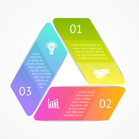 options: Vector triangle infographic. Template for cycle diagram, graph, presentation and round chart. Business concept with 3 options, parts, steps or processes. Abstract background. Illustration