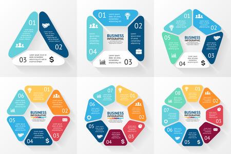 infografica: Vector cerchio infografica. Modello per schema ciclo, grafico, presentazione e grafico rotondo. Concetto di business con 3, 4, 5, 6, 7, 8 opzioni, parti, passi o processi. Sfondo astratto.