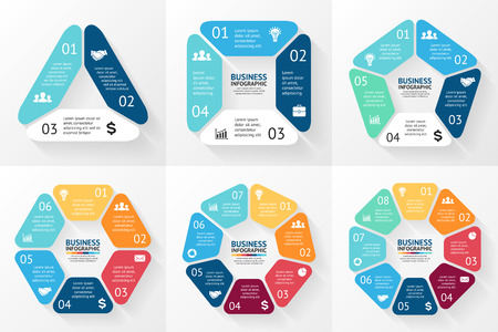 graphs and charts: Vector circle infographic. Template for cycle diagram, graph, presentation and round chart. Business concept with 3, 4, 5, 6, 7, 8 options, parts, steps or processes. Abstract background.