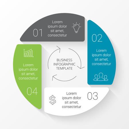 Vecteur cercle infographie. Modèle pour le diagramme de cycle, graphique, présentation et carte tour. Concept d'affaires avec 4 options, des pièces, des mesures ou des procédés. Graphique linéaire. Vecteurs