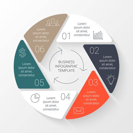 six: Vector circle infographic. Template for cycle diagram, graph, presentation and round chart. Business concept with 6 options, parts, steps or processes. Linear graphic. Illustration