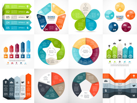 five elements: Vector infographic templates set. Template for cycle diagram, graph, presentation and circle arrows chart. Business startup concept with 5 options, parts, steps or processes. Abstract background.