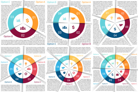 Vector circle infographic. Template for cycle diagram, graph, presentation and round chart. Business concept with 3, 4, 5, 6, 7, 8 options, parts, steps or processes. Abstract background. Vector