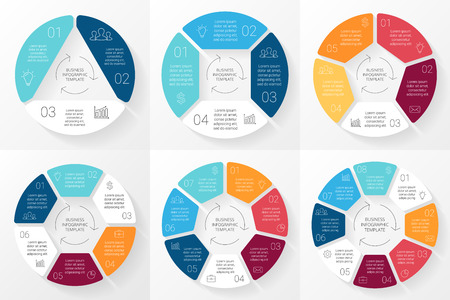 Vector cirkel infographic. Sjabloon voor cyclus diagram, grafiek, presentatie en rond grafiek. Business concept met 3, 4, 5, 6, 7, 8 mogelijkheden, delen, stappen of werkwijzen. Lineaire minimale grafische. Stock Illustratie