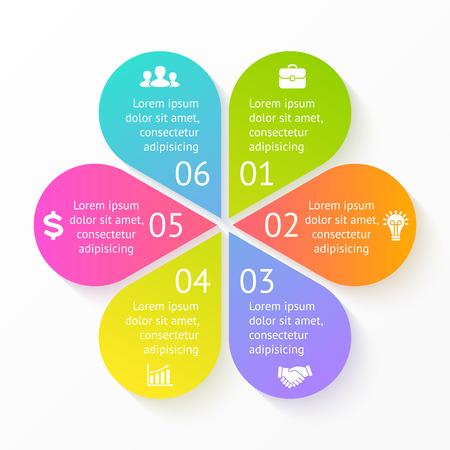 Vector cirkel bloem infographic. Sjabloon voor cyclus diagram, grafiek, presentatie en rond grafiek. Zakelijk concept met 6 opties, delen, stappen of processen. Abstracte achtergrond. Stock Illustratie