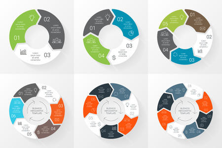six: Vector circle arrows infographics set. Template for cycle diagram, graph, presentation and round chart. Business concept with 3, 4, 5, 6, 7, 8 options, parts, steps or processes. Linear graphic.