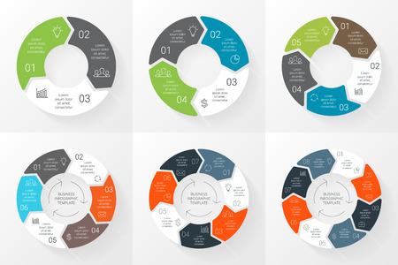 Vector cirkel pijlen infographics in te stellen. Sjabloon voor cyclus diagram, grafiek, presentatie en rond grafiek. Business concept met 3, 4, 5, 6, 7, 8 mogelijkheden, delen, stappen of werkwijzen. Lineaire afbeelding. Stock Illustratie