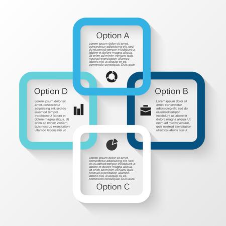 Vector cirkel infographic. Sjabloon voor cycle diagram, grafiek, presentatie en ronde grafiek. Zakelijk concept met 4 opties, delen, stappen of processen. Abstracte achtergrond.