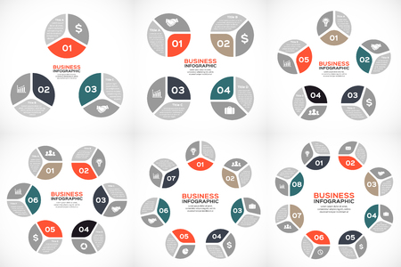 7 8: Vector circle infographics set Template for cycle diagram, graph, presentation and round chart. Business concept with 3, 4, 5, 6, 7, 8 parts, options, steps or processes. Abstract background.