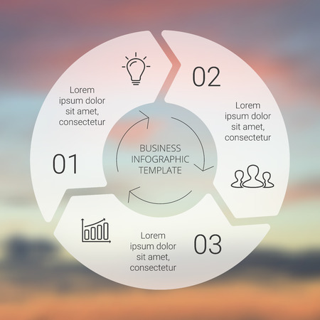 Circle Line pijlen infographic. Sjabloon voor cyclus diagram, grafiek, presentatie en rond grafiek. Zakelijk concept met 3 opties, delen, stappen of processen. Lineaire afbeelding. Vervagen vector achtergrond. Stock Illustratie
