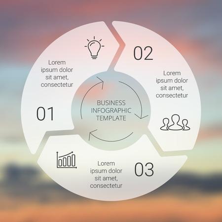 Kreis Pfeile Infografik. Vorlage für Zyklusdiagramm, Grafik, Präsentation und Runde Diagramm. Business-Konzept mit 3 Möglichkeiten, Teile, Schritte oder Verfahren. Linear Grafik. Blur Vektor Hintergrund. Standard-Bild - 40852524