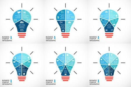 Vector licht buble infographics in te stellen. Sjabloon voor cirkel diagram, grafiek, presentatie en rond grafiek. Bedrijf opstarten idee concept met 3, 4, 5, 6, 7, 8 opties, delen, stappen of processen. Succesvolle brainstormen.