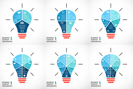 six: Vector light buble infographics set. Template for circle diagram, graph, presentation and round chart. Business startup idea concept with 3, 4, 5, 6, 7, 8 options, parts, steps or processes. Successful brainstorming.