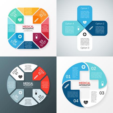 Vector cirkel plusteken infographic. Sjabloon voor het diagram, grafiek, presentatie en grafiek. Medische zorg concept met 4 opties, delen, stappen of processen. Abstracte achtergrond. Stock Illustratie