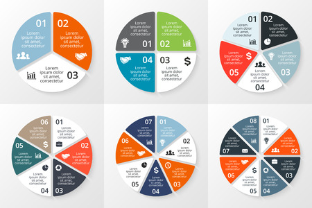Vector circle infographics set. Template for cycle diagram, graph, presentation and round chart. Business concept with 3, 4, 5, 6, 7, 8 options, parts, steps or processes. Data visualization.