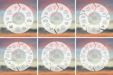 Circle Line Infografik. Vorlage für Zyklusdiagramm, Grafik, Präsentation und runde Diagramm. Business-Konzept mit 3, 4, 5, 6, 7, 8 Möglichkeiten, Teile, Schritte oder Verfahren. Linear-Grafik. Blur Vektor Hintergrund. Standard-Bild - 41159793