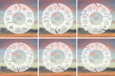 Circle line infographic. Template for cycle diagram, graph, presentation and round chart. Business concept with 3, 4, 5, 6, 7, 8 options, parts, steps or processes. Linear graphic. Blur vector background. Illustration