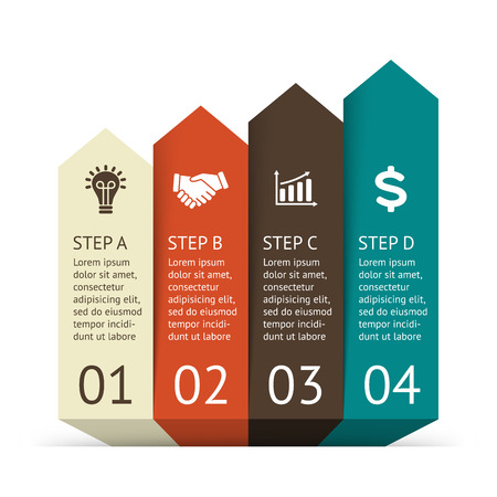 options: Vector arrows infographic. Template for diagram, graph, presentation and chart. Business startup concept with 4 options, parts, steps or processes. Abstract background. Data visualization.
