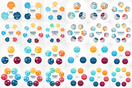 Vector circle arrows infographic. Template for cycle diagram, graph, presentation and round chart. Business concept with 3, 4, 5, 6, 7, 8 options, parts, steps or processes. Big bundle includes 24 easy editable info graphics.