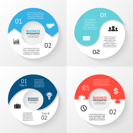 Vector circle arrows infographic. Template for cycle diagram, graph, presentation and round chart. Business concept with 2 options, parts, steps or processes. Abstract background. Data visualization.