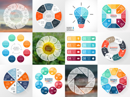 Circle arrows infographics set. Template for cycle diagram, graph, presentation and round chart. Business concept with 8 options, parts, steps or processes. Abstract vector background. Data visualization.