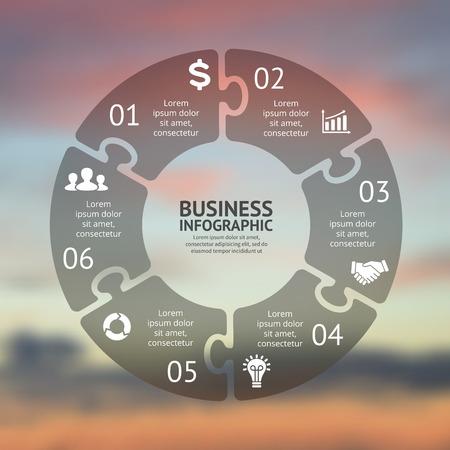 Cirkel puzzel infographic. Sjabloon voor cyclus diagram, grafiek, presentatie en rond grafiek. Zakelijk concept met 6 opties, delen, stappen of processen. Vector wazige achtergrond. Gemakkelijk bewerkbare kleurenschema. Stock Illustratie