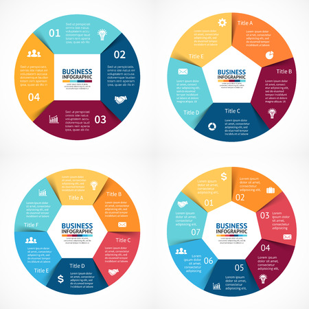 Vector circle infographics set. Template for cycle diagram, graph, presentation and round chart. Business concept with 3, 4, 5, 6  options, parts, steps or processes. Abstract background. Data visualization.  イラスト・ベクター素材