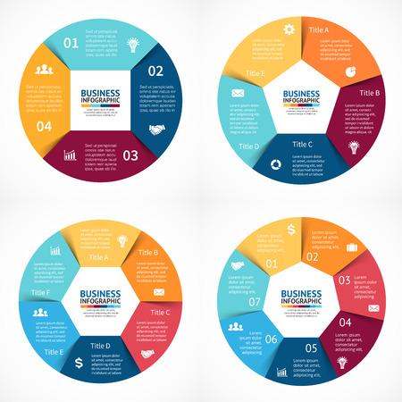 Vector Kreis Infografiken Set. Vorlage für Zyklusdiagramm, Grafik, Präsentation und runde Diagramm. Business-Konzept mit 3, 4, 5, 6 Optionen, Teile, Schritte oder Verfahren. Zusammenfassung Hintergrund. Datenvisualisierung. Standard-Bild - 41645155