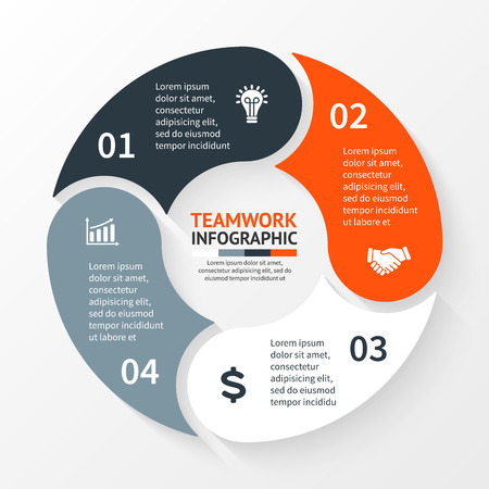 flujo: Vector círculo infografía. Plantilla para el diagrama del ciclo, gráfico, presentación y tabla redonda. Concepto de negocio con 4 opciones, partes, etapas o procesos. Resumen de antecedentes. Vectores