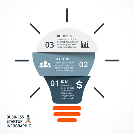 options: Vector light bulb infographic. Template for circle diagram, graph, presentation and round chart. Business startup idea concept with 3 options, parts, steps or processes. Successful brainstorming.