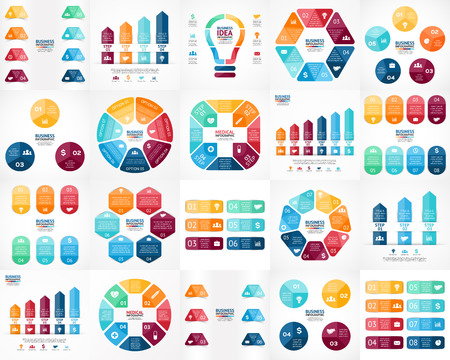 six: Vector infographics set. Templates for cycle diagram, graph, presentation and round chart. Business startup concept with 3, 4, 5, 6, 7, 8 options, parts, steps or processes. Data visualization.
