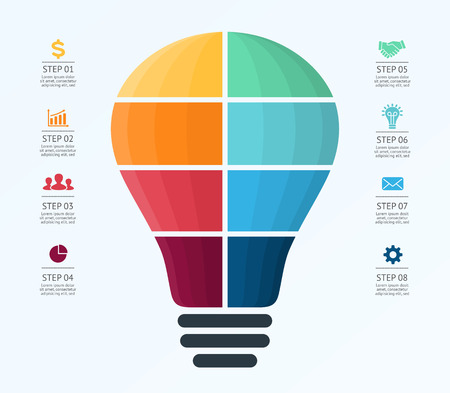 light bulb: Light bulb balloon diagram for graph infographic presentation with 8 steps parts options.