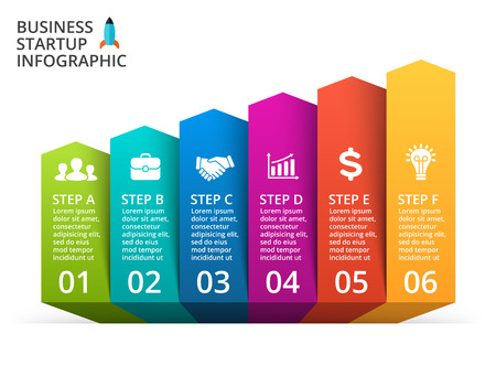 Up arrows diagram for graph infographic presentation with 6 steps parts options.