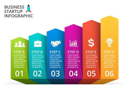 Up arrows diagram for graph infographic presentation with 6 steps parts options. Banco de Imagens - 56405457