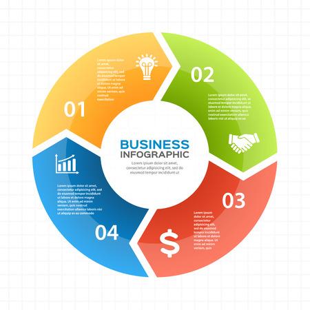 Circle pijlen schema voor de grafiek infographic presentatie met 4 stappen delen opties.