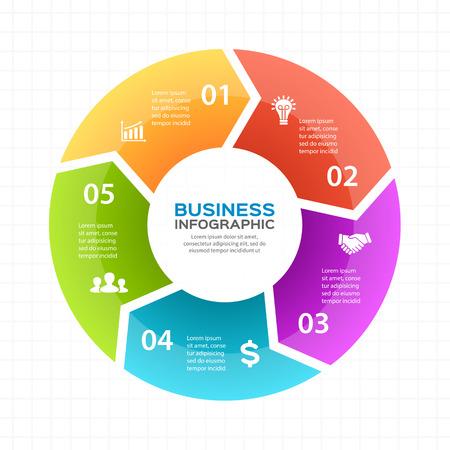 Circle pijlen schema voor de grafiek infographic presentatie met 5 stappen delen opties. Stock Illustratie