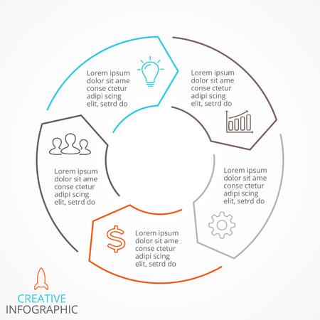 Circle pijlen schema voor lineaire grafiek infographic presentatie met 5 stappen delen opties.