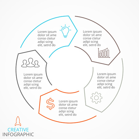 Circle arrows diagram for linear graph infographic presentation with 5 steps parts options.