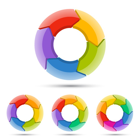 circular flow: Circle arrows diagram for graph infographic presentation with steps parts options. Stock Photo