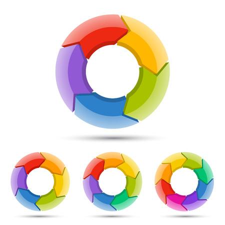 flecha: Flechas del círculo diagrama para la presentación gráfica infografía con las opciones de los pasos de piezas.