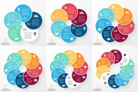 Circle pijlen schema voor de grafiek infographic presentatie met stappen delen opties. Stock Illustratie