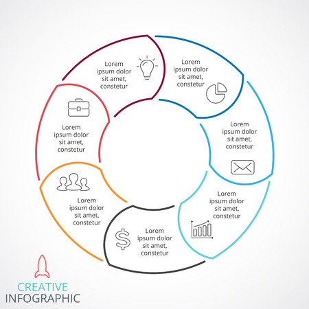 Circle arrows diagram for graph infographic presentation with steps parts options. Vettoriali