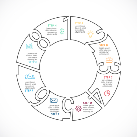 Circle arrows diagram for graph infographic presentation with steps parts options. Illustration