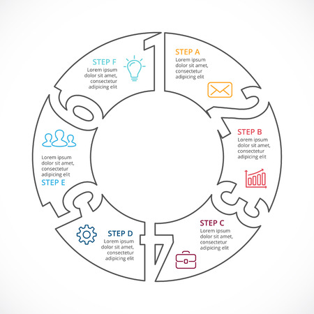 targets: Circle arrows diagram for graph infographic presentation with steps parts options. Illustration