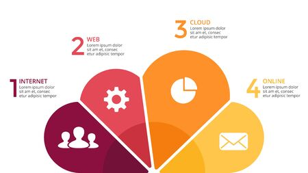 Vector cloud infographic, cycle diagram, internet technology graph, web presentation chart. Business IT concept with 4 options, parts, steps, processes.